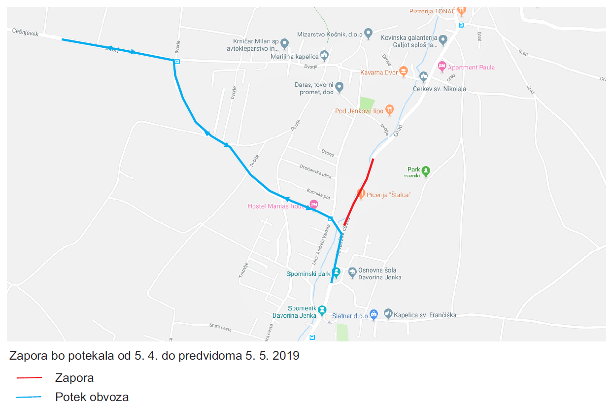 Dear passengers please be informed that from 5. 4. 2019 on bus Cerklje občina will again be in operation. The street Ul. Franca Barleta will reopen for traffic, but part of Krvavška cesta will still remain closed. The complete closure will be from Križišče Barletova and Krvavška cesta towards Grad.