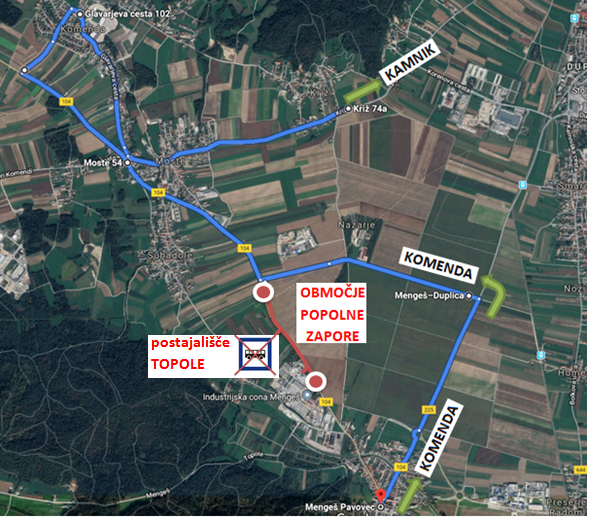 Dear passengers please be informed that from Saturday 22. 6. 2019 till Sunday 7. 7. 2019 a complete road closure will be implemented on road Mengeš-Moste.