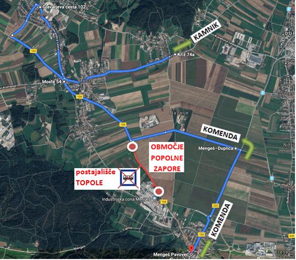 Obveščamo vas, da bo od sobote, 22. 6. 2019 do nedelje 7. 7. 2019 uvedena POPOLNA ZAPORA ceste Mengeš-Moste.