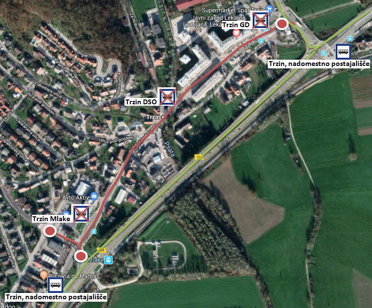 Dear passengers please be informed that on Saturday, 15. 6. 2019 a COMPLETE ROAD CLOSURE of Kidričeva ulica on area of crossroad in Ljubljanska cesta and Trzin.