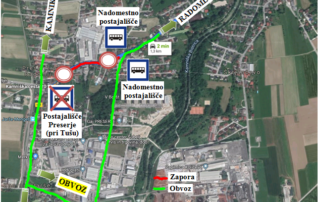 Dear passengers please be informed that from 20. 8. till 28. 8. 2019 there will be a complete road closure of Pelechova cesta in Preserj pri Radomljah with a detour true the industrial zone Jarše till Radomelje in direction Kamnik-Radomlje and back from Radomelje towards Kamnik and Domžal.