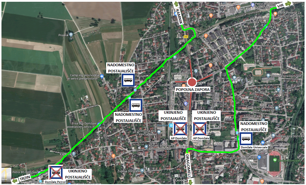Dear passengers please be informed that from 4. 10. (from 9.00 o'clock on) till foreseeable 8. 10. 2019, bus traffic on certain lines will be changed due to a complete road closure of Ljubljanska road in Domžale.
