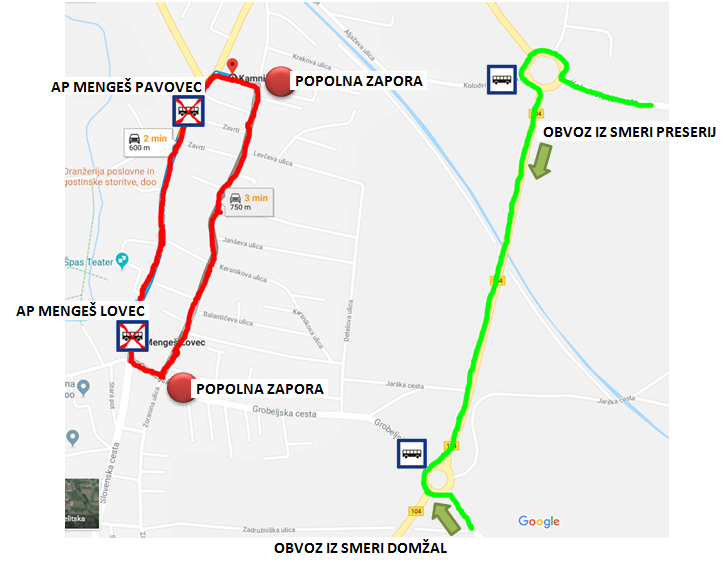 "Dear passengers please be informed that due to the sport event ""8. velika nagrada Občine Mengeš"" that will take place on Sunday, 6. 10. 2019, from 9.00 till 14.00 o'clock, a COMPLETE ROAD CLOSURE will be implemented true MENGEŠ."