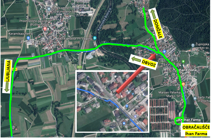 Dear passengers please be informed that due to construction works from 4 November till 20 December 2019, a complete road closure of the road Ihan – Dol, part to Bišče towards Dol, will be implemented.