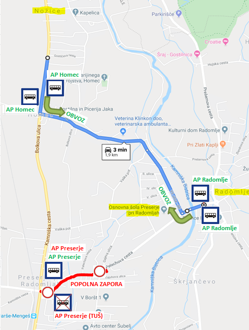 Dear passengers please be informed that on 12. 12. 2019 there will be a complete road closure of Pelechova cesta in Preserje pri Radomljah.