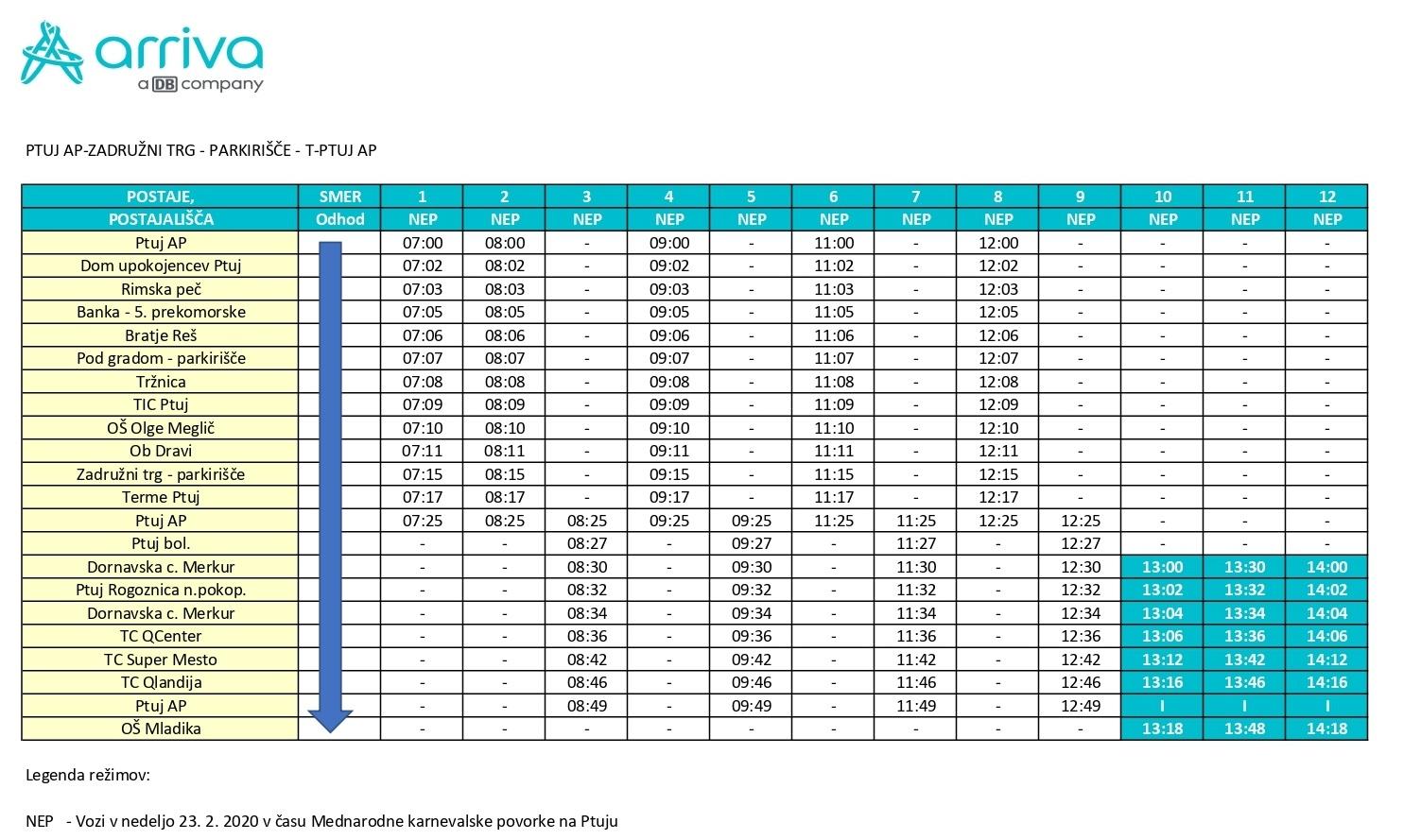 V času Mednarodne karnevalske povorke na Ptuju, ki se bo odvijala v nedeljo, 23. 2. 2020, s pričetkom ob 13:00 uri, bomo izvajali spremenjene vožnje mestnega avtobusa. Mestni avtobus bo do 13:00 ure vozil v skladu z veljavnim voznim redom, po 13.00 uri ( ob 13:00 h, 13:30 h in 14:00 h) pa bo zapeljal po trasi Dornavska cesta Merkur – QCenter – Super Mesto – Qlandija – OŠ Mladika.