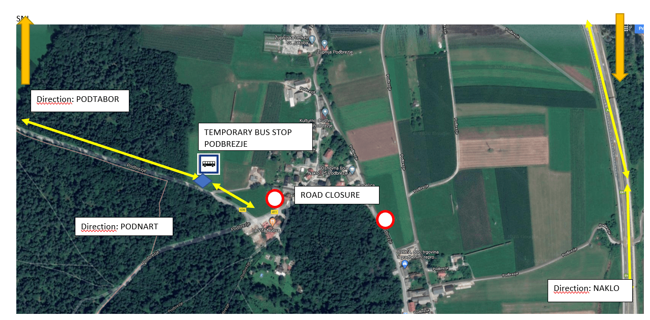 Dear passengers please be informed tha municipality Naklo at Podbrezje will have construction works from 17. 2. 2020 till 10. 4. 2020, and the state road. Due to the road closure public bus line passenger transport and school transport will change.