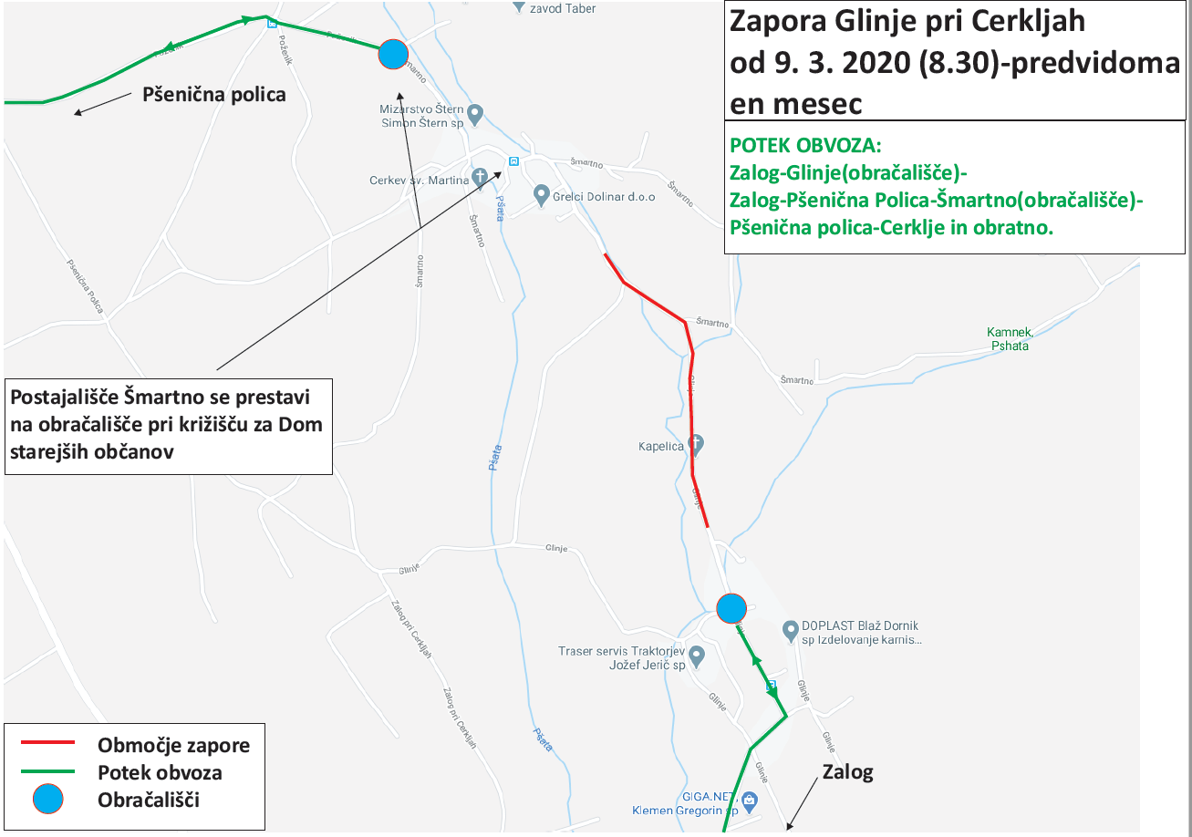 Dear passengers please be informed that from Monday, 9. 3. 2020 till foreseeable one month, a complete road closure will be implemented at Glinje pri Cerkljah.