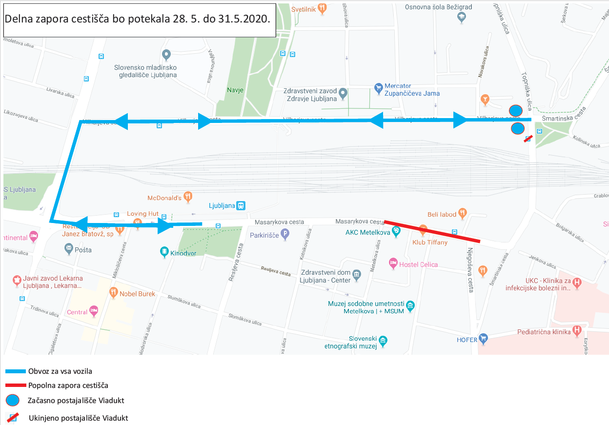 Dear passengers please be informed that from 28. 5. (12.00 o'clock) till Sunday 31. 5. 2020, a complete road closrure in Ljubljana will be implemented due to closure of cross roads Masarykova and Njegoševa.