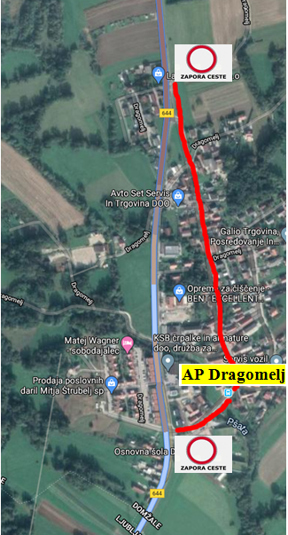 Due to a complete road closure I settlement Dragomelj that will take place from 22. till 23. 6. 2020, bus stop in Dragomelj will temporary not be operated. During the time of the road closure the bus stop in Dragomelj will be moved to Podgorica.