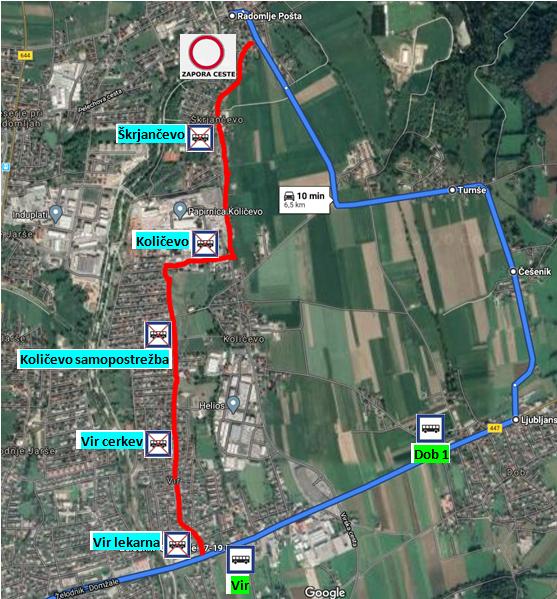 Obveščamo vas, da bo zaradi obnove ceste LC 071081 Radomlje-Vir skozi Škrjančevo, potrebna popolna zapora, ki bo potekala od 6. 7. do predvidoma 20. 7. 2020.