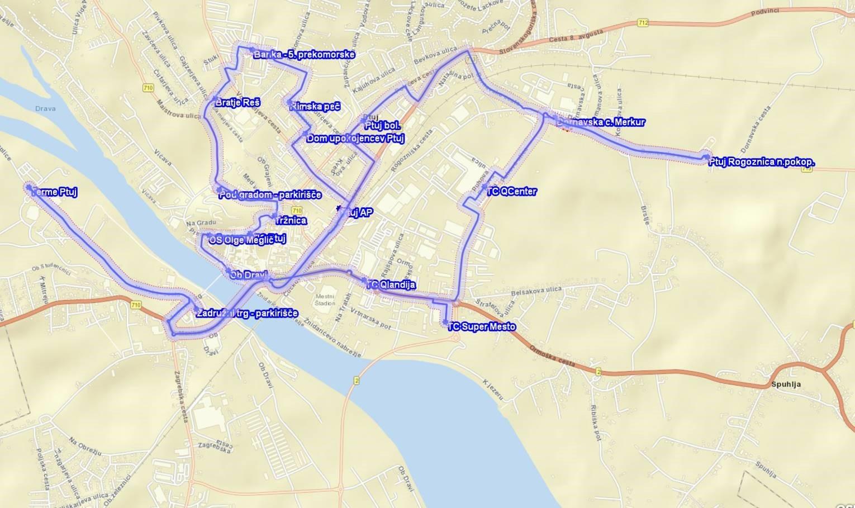 Občani in obiskovalci lahko potujejo po mestu Ptuj z brezplačnim mestnim avtobusom. Mestna občina Ptuj tako spodbuja trajnostno mobilnost in želi ponuditi oblike javnega prevoza zlasti za tiste, ki nimajo lastnega prevoza ali želijo zmanjšati število potovanj s svojim avtomobilom.