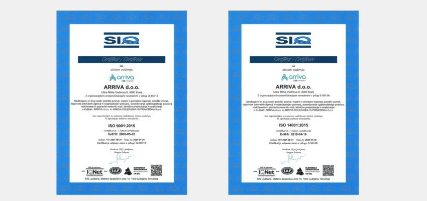 V Arrivi smo pred dnevi uspešno zaključili zunanjo presojo sistema vodenja kakovosti in sistema ravnanja z okoljem. Slovenski inštitut za kakovost in meroslovje (SIQ), je presodil, da so izpolnjeni vsi pogoji za dodelitev certifikatov ISO 9000:2015 in ISO 14001:2015.
