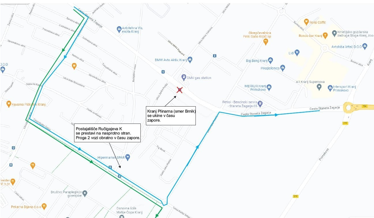 Dear passengers please be informed that due to closure of road Cesta Staneta Žagarja in Kranj, from 14. 10. till 16. 10. 2021, between 7.00 and 17.00 o'clock, but not longer tham 6 hours in one day, bus stop Kranj Plinarna (in direction Brnik) will not be operated.